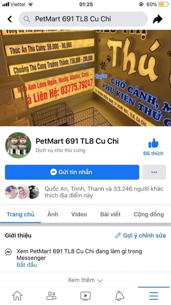 Một trang mua bán chó lừa đảo trên mạng xã hội
