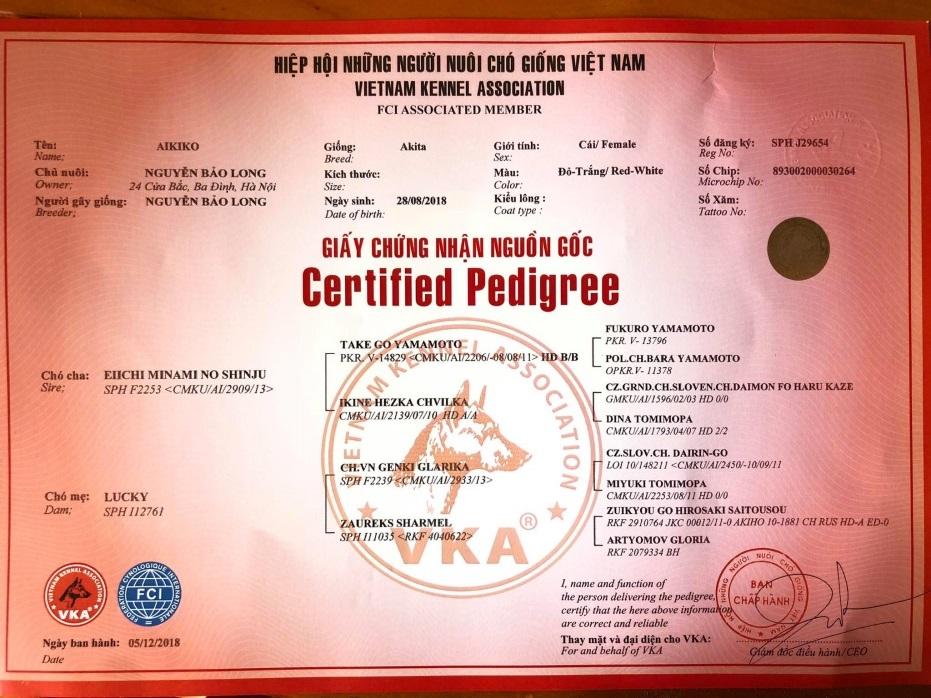 giấy chứng nhận của VKA tổ chức duy nhất tại VN được FCI công nhận
